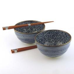 Japanese Kyo Karakusa Bowl And Chopsticks Set includes 2 Bow