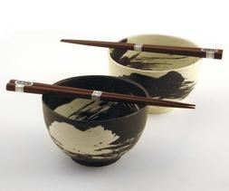 Japanese Stoneware Bowls with Chopsticks Gift Set, Brush Bla