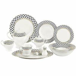 Lorren Home Trends 57-Piece Porcelain Dinnerware Set with Co