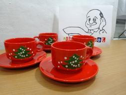 Lot of 4 Waechtersbach Christmas Cups & Saucers Green Tree o