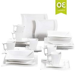Malacasa 30-Piece Porcelain Square Dinnerware Plates Set wit