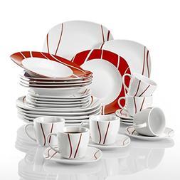 Malacasa, Series Felisa, 30-Piece Red Stripes Ivory White Po