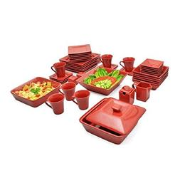 Nova 45 Piece Square Dish Set Red