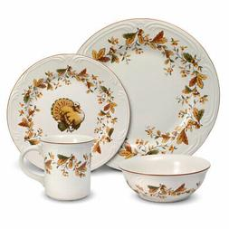 Pfaltzgraff Autumn Berry 16 Piece Dinnerware Set, Service fo