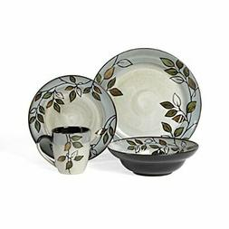 Pfaltzgraff Rustic Leaves 16-Piece Stoneware Dinnerware Set,