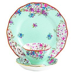 "Royal Albert Candy 3 Piece Teacup Saucer and Plate Set, 8"","