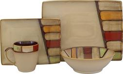 Sango 16 Piece Elements Dinnerware Set, Brown