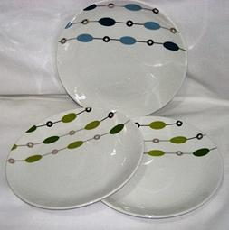 Set of 3 - Pier 1 Beaded Garland Dessert 7 1/2 Inch Plates,