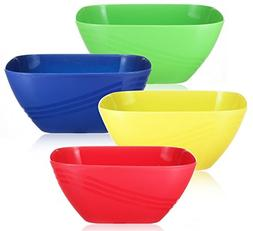 Set of 4 - Plastic Party Serving Bowls, Reusable Unbreakable