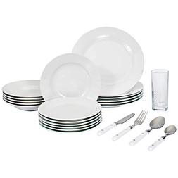Set of 48-piece, Complete Dinner Set with Glasses and Silver