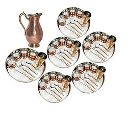 Set of 5 Dinnerware Traditional Stainless Steel Copper Dinne