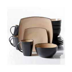Square Dinnerware Service for 8, Plates Bowls Mugs, 32-Piece