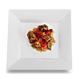 """Squares 9.5"""" Dinner Plate, White"""