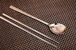 Stainless Steel 1 Set Korean Style Metal Chopsticks Spoon Se