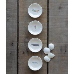 Waterside 4 Piece Sea Life Ceramic Platter Set