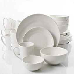 a 30 piece dinnerware set in white