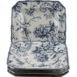 222 Fifth Adelaide Blue & White Square Salad Plates Set of 4