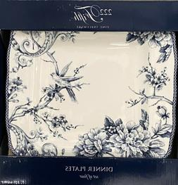 222 Fifth Adelaide Blue Square Dinner Plates Set Of 4 Toile