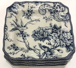 222 Fifth Adelaide Blue Toile Square Salad Plates   Set of 4