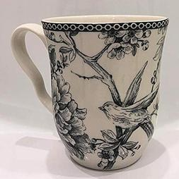 222 Fifth Adelaide Gray Toile Pattern Coffee Mugs | Set of 4