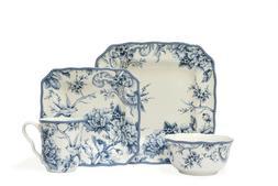 222 Fifth Adelaide Ivory and Blue 16 Piece Square Porcelain