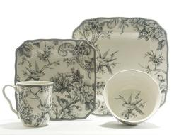 222 Fifth Adelaide Ivory and Grey 16 Piece Square Porcelain