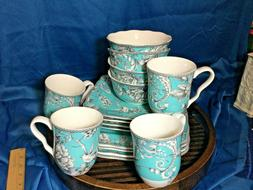 222 Fifth Adelaide turquoise 16-piece Dinnerware Set, Servic