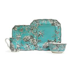 222 Fifth Adelaide Turquoise 16 Piece Square Porcelain Dinne