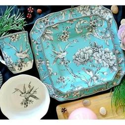 adelaide turquoise porcelain dinnerware case of 16