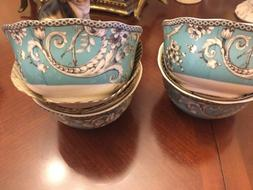 222 Fifth Adelaide Turquoise  Round Bowl Set Of 4