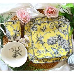 adelaide yellow porcelain 16 piece dinnerware set