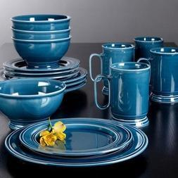 Admiraware 16-piece Dinnerware Set, Round Blue Features Tran