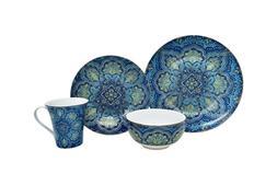 222 Fifth Agustina Opulent Blue 16 Piece Porcelain Dinnerwar