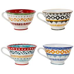 Euro Ceramica Amalfi Collection Porcelain Latte Mugs, Set of