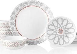 Corelle Amalfi Gray Geometric 18 Piece Dinnerware Set Servic