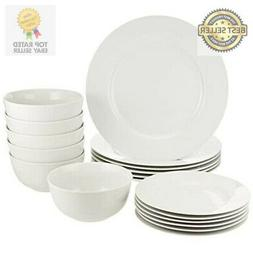 AmazonBasics 18-Piece White Kitchen Dinnerware Set, Dishes,