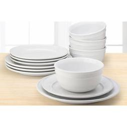 Mainstay Amelia 12-Piece Solid Color Dinnerware Set