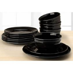 Mainstay Amelia 12-Piece Solid Color Dinnerware Set, Rich Bl