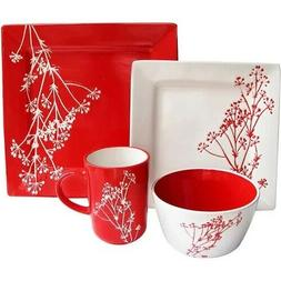American Atelier Blossom Branch 16-Piece Dinnerware Set, Red