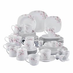 VEWEET ANNIE Porcelain Dinnerware Set Floral Pattern Square
