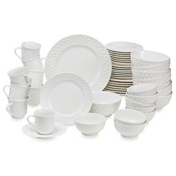 Antique Quilt 48-Piece Dinnerware Set - Porcelain, Serves 8