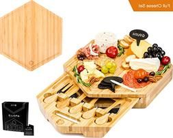 APOLLO 12-Piece Complete Bamboo Cheese Board Serving Set wit