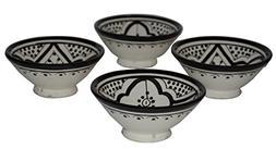 Ceramic Appetizer Bowls Handmade Moroccan Serving Set of 4 E