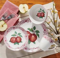 Apples and Leaves 16 PC Glazed Porcelain Dinnerware Set. New