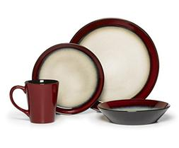 16-Piece Aria Red Dinnerware Set, Crafted From Stoneware For
