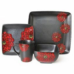 American Atelier Asiana Stoneware 16pc Dinnerware Set Red