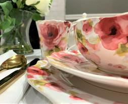 222 Fifth Aurora Fine Porcelain Dinnerware Set Floral Design