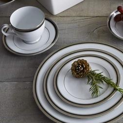 Noritake Austin Platinum 50 Piece Dinnerware Set Black&Plati