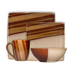 Sango Avanti Brown 16 Piece Reactive Glaze Stoneware Dinnerw