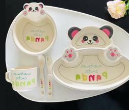 Baby Toddler Plate Set Kids Tableware Baby Bamboo Fiber Bowl